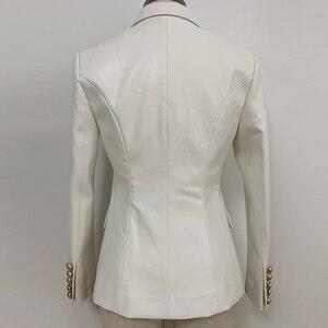 Image 2 - Nouvelle collection automne hiver 2020 veste Blazer femme boutons métal Lion Double boutonnage cuir synthétique Blazer pardessus