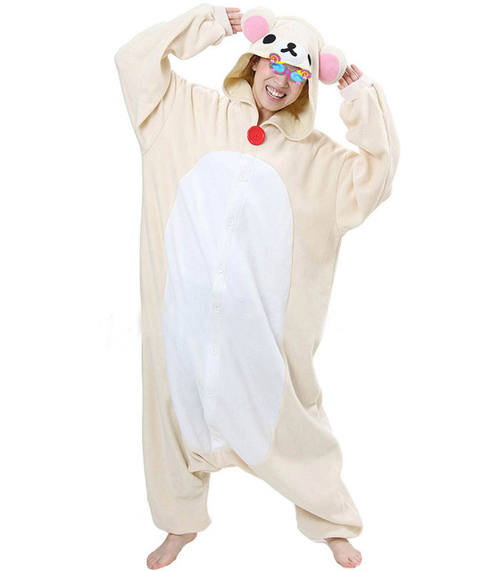 bfc2f94a48e228 Dorosłych Unisex nowy dorosłych zwierząt Sleepsuit Cosplay Costume piżamy  Korilakkuma Onesie biały Rilakkuma piżamy kombinezony pajacyki