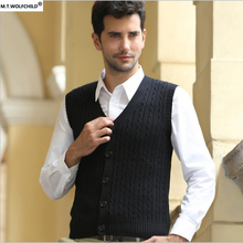Mens vest 2017 men's new spring style V-neck Cardigan sleeveless sweaters casual 100% cotton mens clothing slim mens sweaters