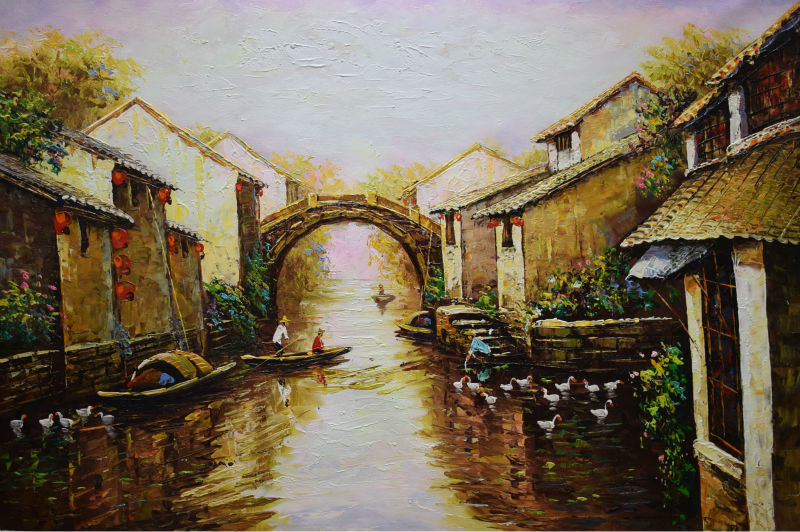 HandPainted Landscape Thick Oil Canvas Painting Chinese Region of River and Lake Abstract Wall art Picture for Home Decoration