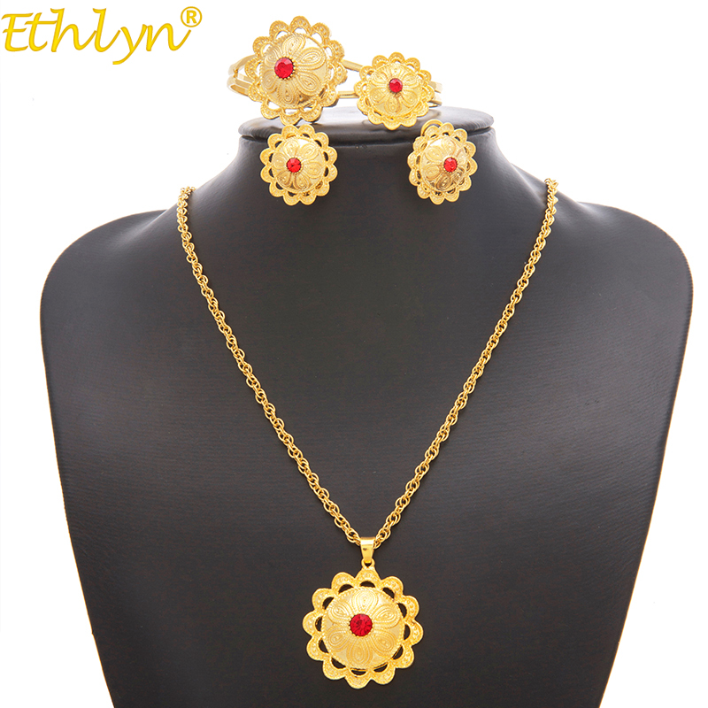 Ethlyn Jewelry Ethiopian/Eritrean Bride Gold Color Jewelry Sets With Stone  African Ethnic Gifts Habesha Wedding Giving S197