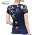 2017 Summer T-shirt Women Lace Short Sleeve T Shirts Female Flower Print Hollow Hot Drilling Harajuku Tops Plus Size XXXL J6163