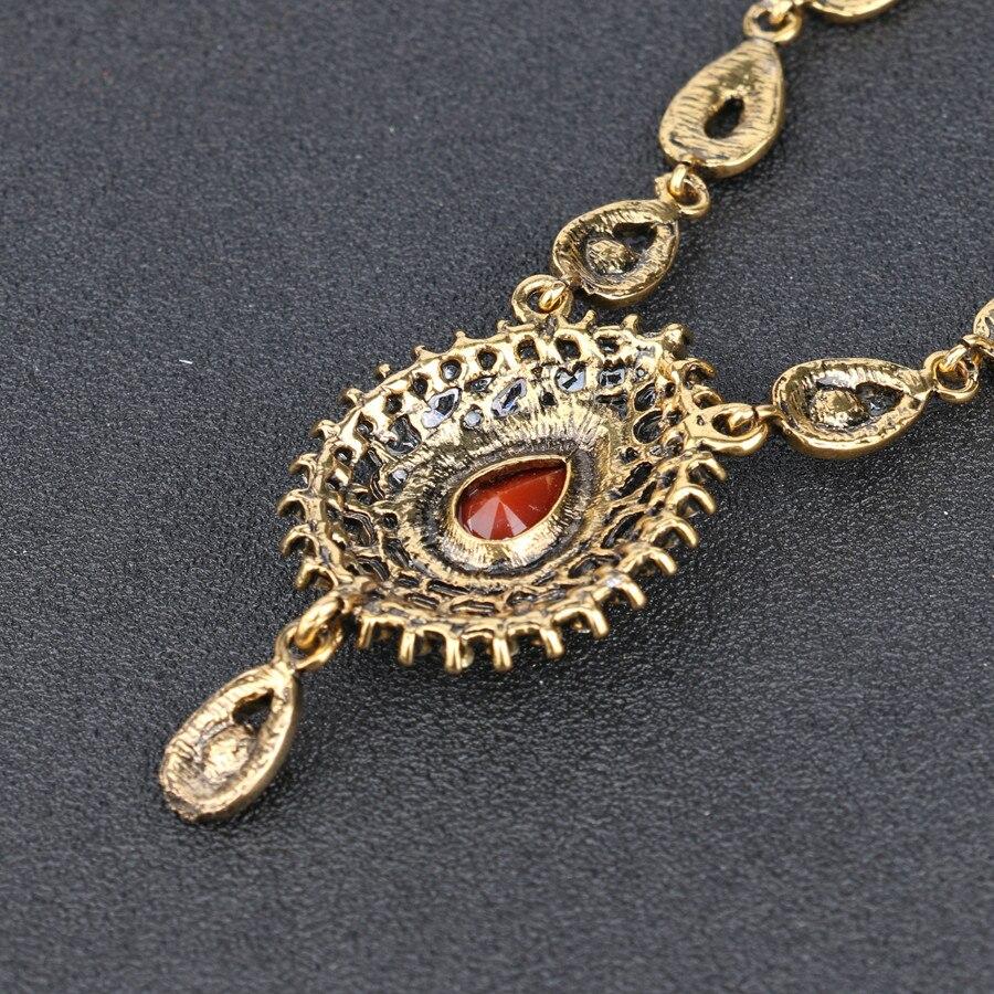 Gorgeous Antique Gold Color 2 Color Resin Choker Pendant &Necklace Statement Austria Women's Sweater Accessories