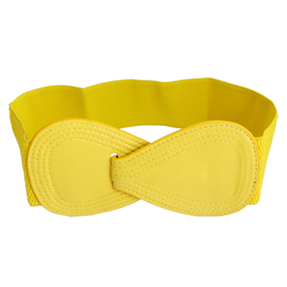 NEW 8-shaped Faux Leather Buckle Elastic   Belt   Yellow for Lady