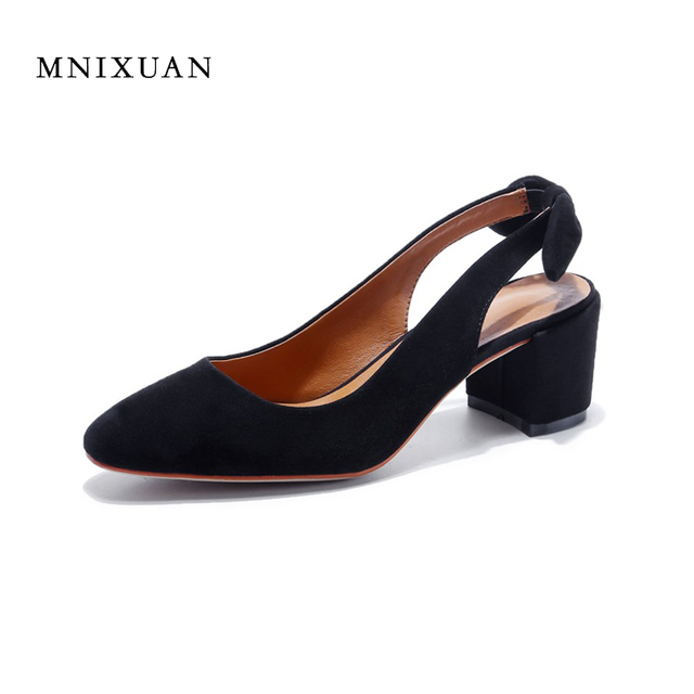 Las Comfortable Women Office Shoes Sandals Square Heels Spring 2017 Real Leather Round Toe Solid High