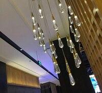 Phube освещение дуплекс здания лестницы хрустальная люстра светодио дный люстра капли воды люстра освещения круглый Форма