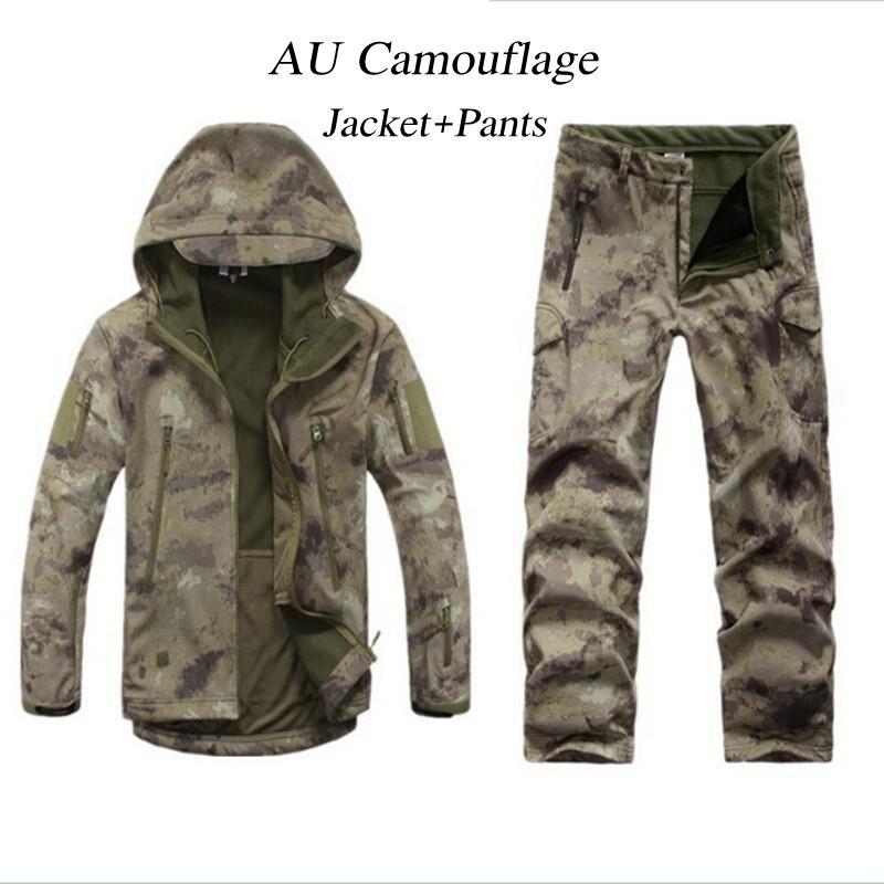 Hommes Femmes Engins De TAD Soft Shell Camouflage Extérieure Wargame Veste Ensemble Armée Sport Étanche Chasse Uniforme Vêtements Veste Pantalon
