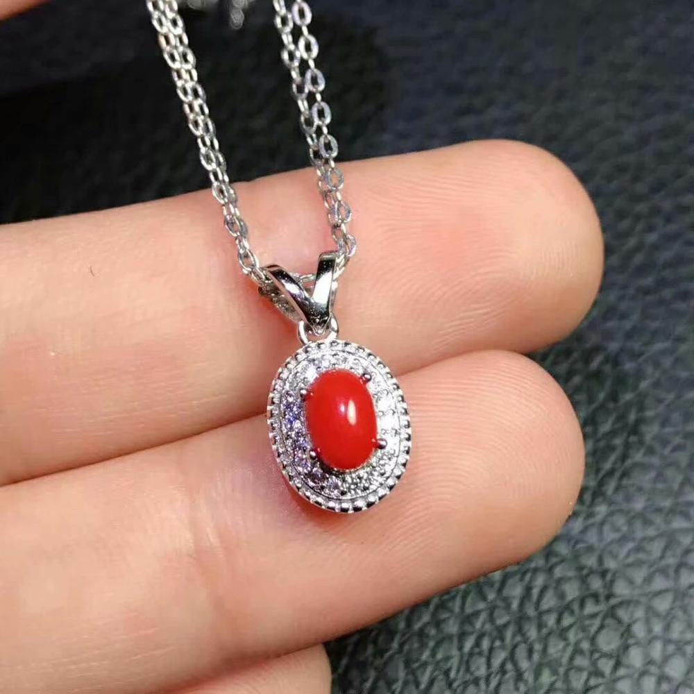 shilovem 925 sterling silver Natural red coral pendants fine Jewelry women trendy send necklace new gift 4 6mm xhfz0406285agsh in Pendants from Jewelry Accessories