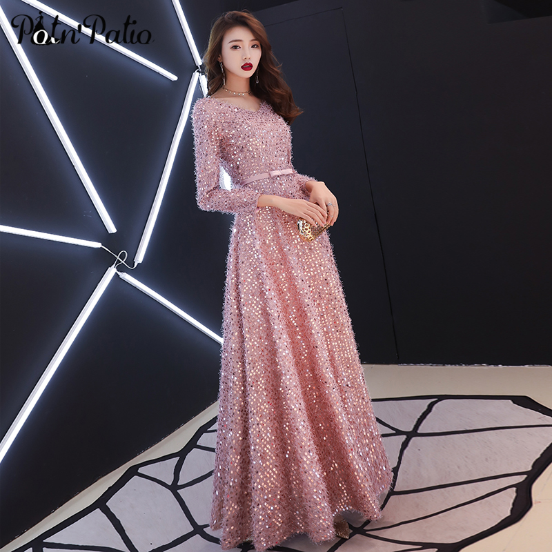 Elegant Pink Feathers Long Evening Dress with Long sleeve Shiny Sequin Lace Up Floor Length Formal