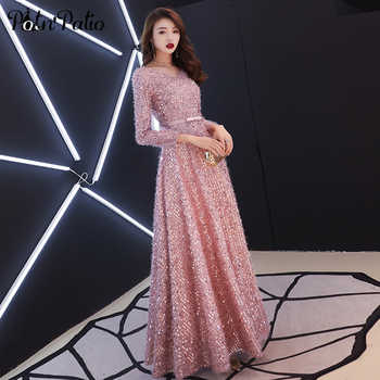 Elegant Pink Feathers Long Evening Dress with Long-sleeve Shiny Sequin Lace Up Floor-Length Formal Gowns Sexy New Party Dresses - DISCOUNT ITEM  30% OFF All Category
