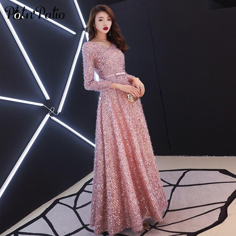 Robe de soirée longue en plumes roses élégantes à manches longues robe de soirée à lacets brillants à paillettes