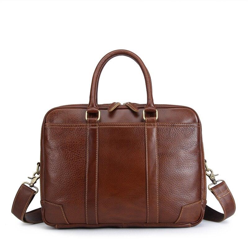 Nesitu Vintage de alta calidad marrón de cuero genuino 14 portátil Oficina de mensajero bolsas hombre cartera M1013