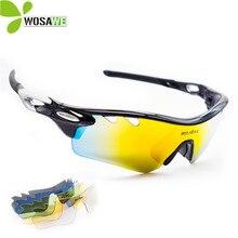 WOSAWE Myopia Cycling Glasses UV 400 4 Len Bicycle Men Sunglasses Hiking Fishing MTB Bike Black Polarized Sports Sunglasses