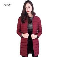 Ftlzz Winter Ultra Light Duck Down Jacket Women High Quality Slim Medium Long Jackets Plus Size