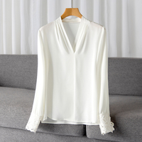 Top Quality Brand Silk Shirt 2019 Spring Summer Blouse Office Work Women V Neck Hollow Out Embroidery Style White Purple Blouse