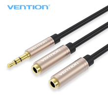 лучшая цена Vention 3.5mm Dual Earphone Extension Cable AUX Audio Cable Jack 3.5mm Male to 2 Female Headphone Splitter for iphone 8 7 Laptop