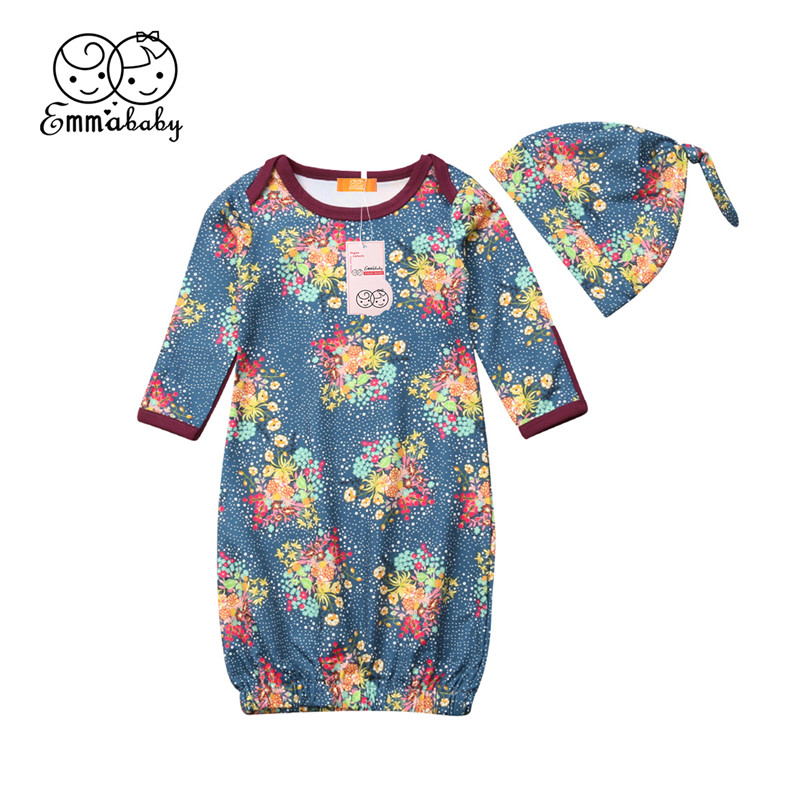Emmababy Baby Baby Bloemen Katoenen Deken Nachtkleding & Robes Bloemen Nachthemden Inbakeren Wikkelen Pasgeboren Slapen Slijtage + Hoed