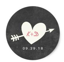 1.5inch Simple Heart & Arrow Chalkboard Wedding Favor Classic Round Sticker