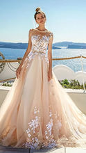 Платье с О образным вырезом Пляжное свадебное открытой спиной