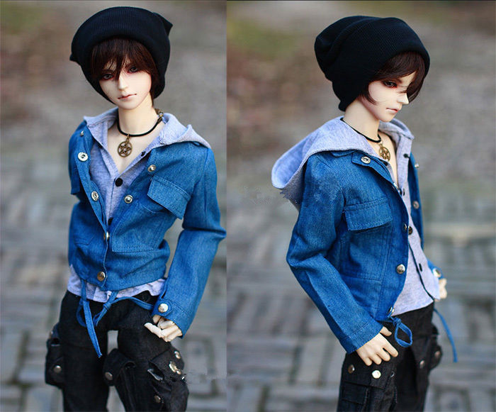 Handsome Jeans Denim Jacket+Grey Shirt 1/3,1/4 MSD SD17 Uncle BJD Doll SD Clothes Customized CMB1 fashion bjd doll retro black linen pants for bjd 1 4 1 3 sd17 uncle ssdf popo68 doll clothes cmb67