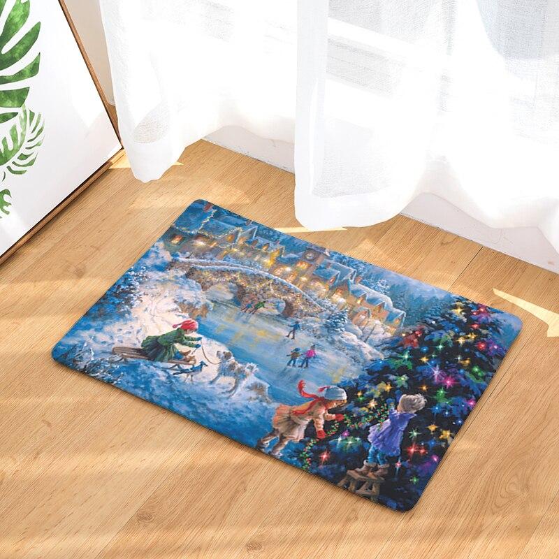 2017 New Anti Slip Christmas Print Mats Bathroom Floor Kitchen Rugs 40x60  50x80cm(China