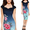 New Sexy Women Ladies V Neck Gradient Color Floral Vintage Elegant OL Dress