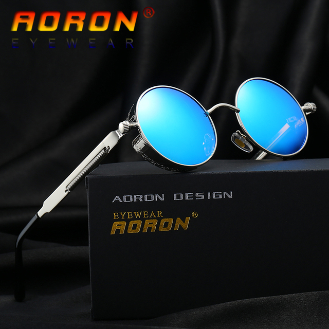 4a804e8c6f AORON Brand Men Polarized Sunglasses Gothic Steampunk Coating Mirrored  Round Circle Sun Glasses Retro UV400 Vintage Eyewear 2018