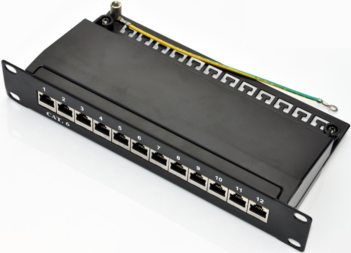 SOHO 10 Cat 6 12port patch panel full shielded with cable management support bar rackmount