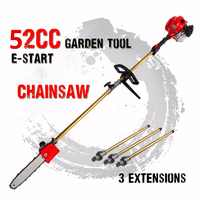 2019 New 52cc Long Reach Pole Chainsaw telescopic pole Petrol Chain Saw Brush Cutter Tree Pruner with 3 extend pole Garden Tools
