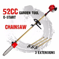 52cc Long Reach Pole Chainsaw telescopic pole Petrol Chain Saw Brush Cutter Tree Pruner with 3 extend pole Garden Tools