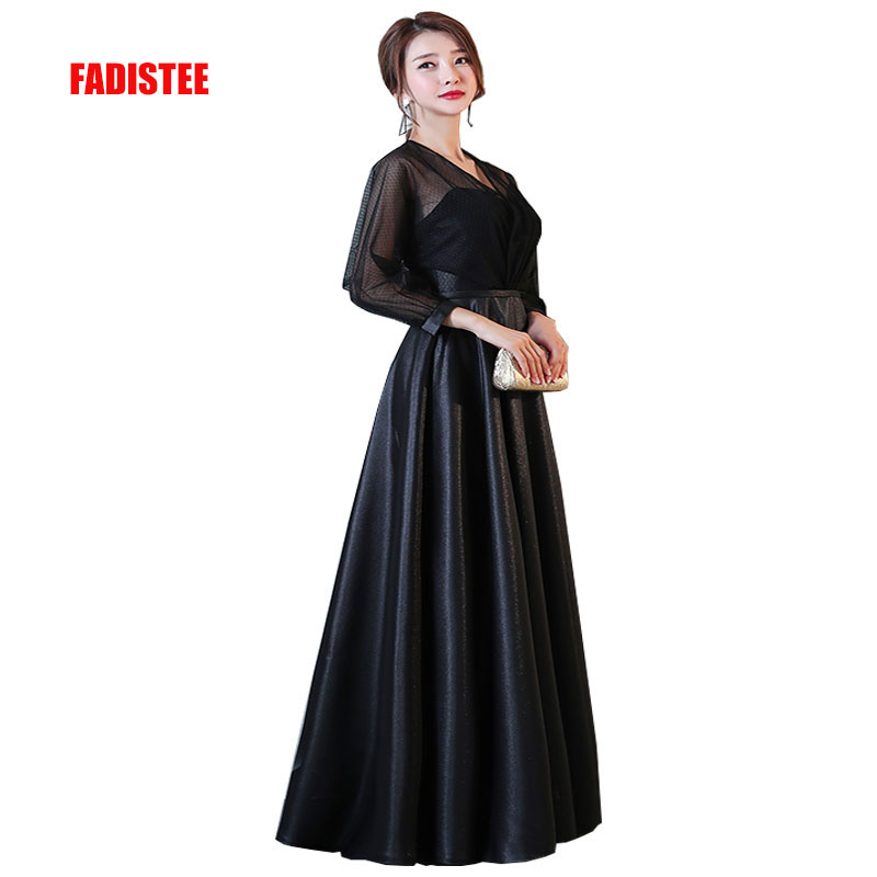 FADISTEE New arrival party elegant evening   dresses     prom     dress   lace see through back Robe De Soiree A-line long sleeves style