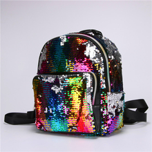 female Colorful Sequin backpack pu leather Shining school bags for teenager  girls glitter small backpack Leisure 55a51967553e