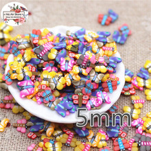 1000pcs 5mm mix color butterfly slince polymer clay craft nail Art Supply Decoration Charm Craft