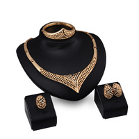 Fashion Gold Plated Nigerian Wedding African Beads Jewelry Set Crystal Saudi Bracelet Earring Ring Jewelry Sets
