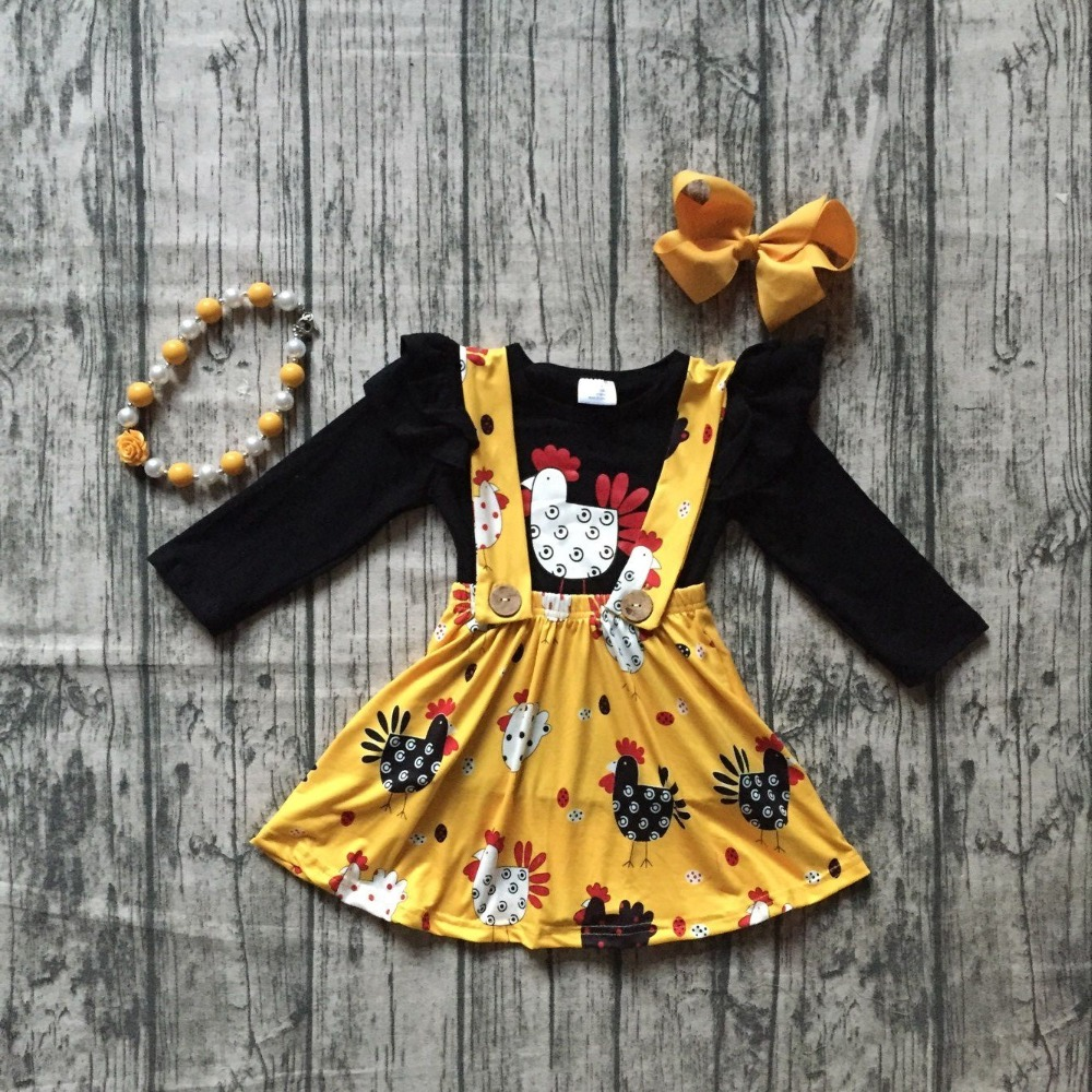 Fall/winter baby girls clothing cotton halter black mustard chicken Button Straps dress boutique ruffles match necklace and bow black button keyhole design grid halter sleeveless mini dress