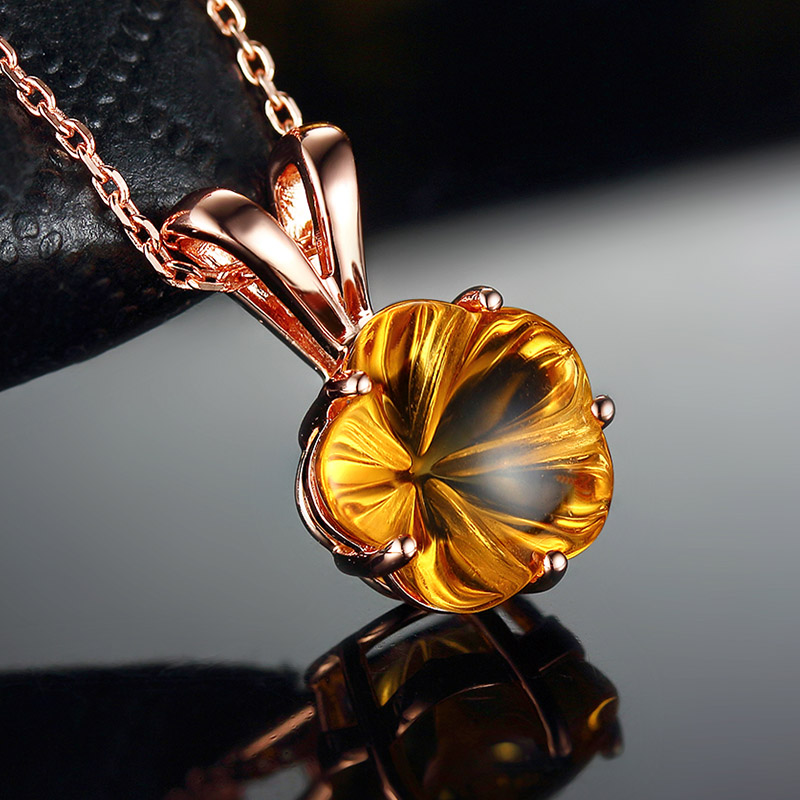 Silver 925 Womens Necklace Yellow Crystal Pendants for Women Rose Gold Plated Fine Women Jewelry Crtrine Pendant Female Necklace yoursfs 18k rose white gold plated snowflake necklace for girls crystal snowflake pendant necklace for women sparkle party jewelry