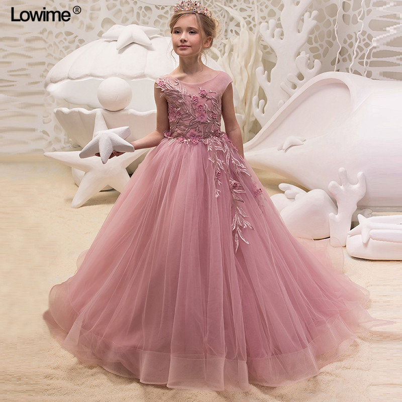 Elegant 2018 A-line Scoop   Flower     Girl     Dresses   For Weddings Lace First Communion   Dress   For   Girls   Real Photo