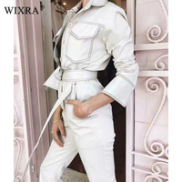 Wixra 2019 New Womens Clothing Cool Long Sleeve Sashes Jumpsuits Turn Down Collar Pockets Casual Solid Playsuits For Female