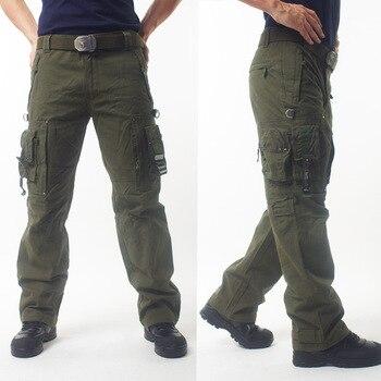 8cb0c7611a De carga militar Pantalones Hombre Pantalones ropa deportiva Multi-Bolsillo  negro táctico pantalones de overoles de algodón de combate del ejército ...