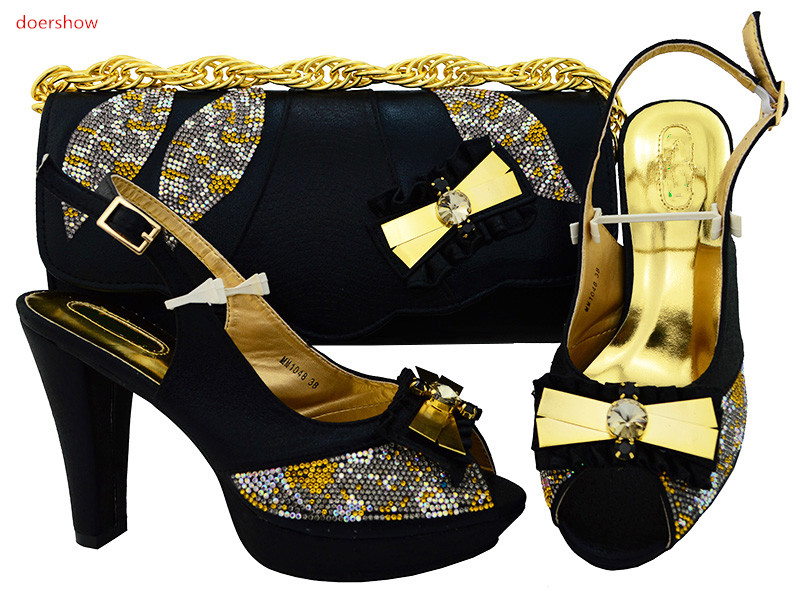 doershow New African Shoes and Bag Sets Italian Shoes with Matching Bags High Quality Women Shoe and Bag To Match Party!HSK1-8 doershow african shoe and bag matching set african wedding shoe and bag sets women shoe and bag to match for parties puw1 20