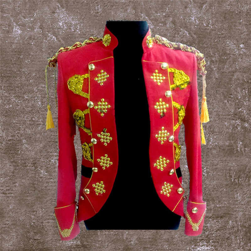 男性ゴールド刺繍クリスタルジャケット白、赤、黒裁判所のブレザーファッションウェディング歌手ホストステージ衣類フェスティバル結婚式コート