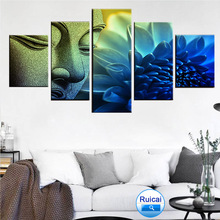 Wall art picture 5 pieces Buddha head portrait blue lotus painting poster canvas living room HD print home decoration frame