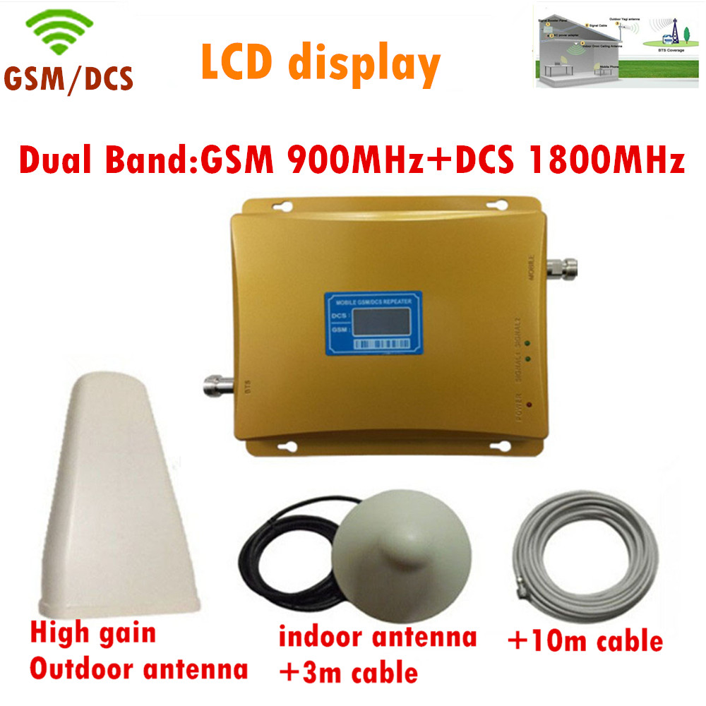 LCD Dual Band 900MHZ & 1800mhz Signal Booster GSM Signal Repeater DCS Amplifier +indoor Outdoor Antenna + Ceiling Antenna +cable