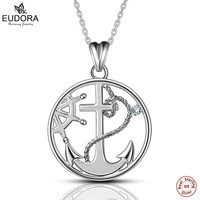 Eudora Classic 925 Sterling Silver Charm Crystal Anchor Pendant Necklaces Women Fashion Jewelry Engagement Best Gift