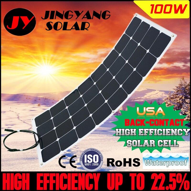Sunpower flexible panneau solaire 100w placa solaire A Grade cellule solaire 125*125; semi flexible panneau 100w chargeur de batterie solaire