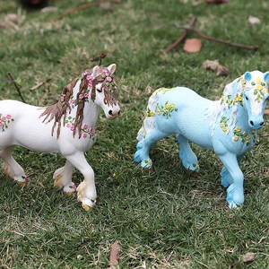 Image 2 - Oenux Original Genuine Farm Animals Horse Model Action Figures Wild Steed Figurines PVC High Quality Education Toy For Kids Gift