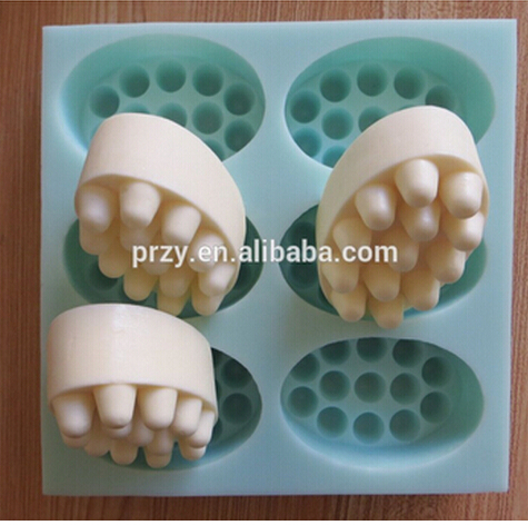 Wholesales 6Hole massage beads soap mold silicone cake pan chocolate soap pudding hansmade silicone soap tray