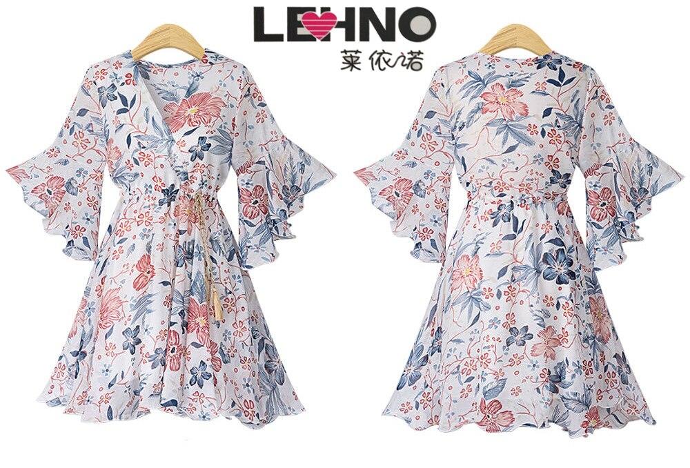 2019 LEHNO nouvelle robe femmes Floral col en v robe en mousseline de soie robe d'été