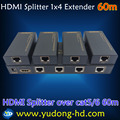 New 1X4 HDMI Splitter Extender 60M by Cat 6/7 HDMI TX and RX Over Ethernet RJ45 Cables Support 3D