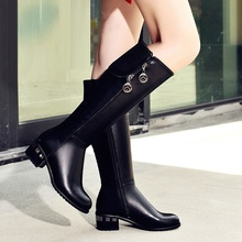 European Style Black Round Toe Thick Heels Knee High Boots Women 2016 Winter New Fashion Hot Sale Padded Shoes Frauen Stiefel